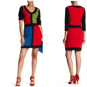 2a54b0764bc4 NWT Papillon Colorblock Sweater Sheath Dress